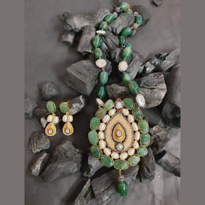 CZ Stone Studded Necklace Set with Green Beads (BANS00274)