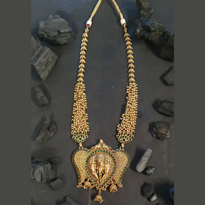 Emerald Stone Embellished Gold Plated Ganesh Style Necklace Set (BANS00253)