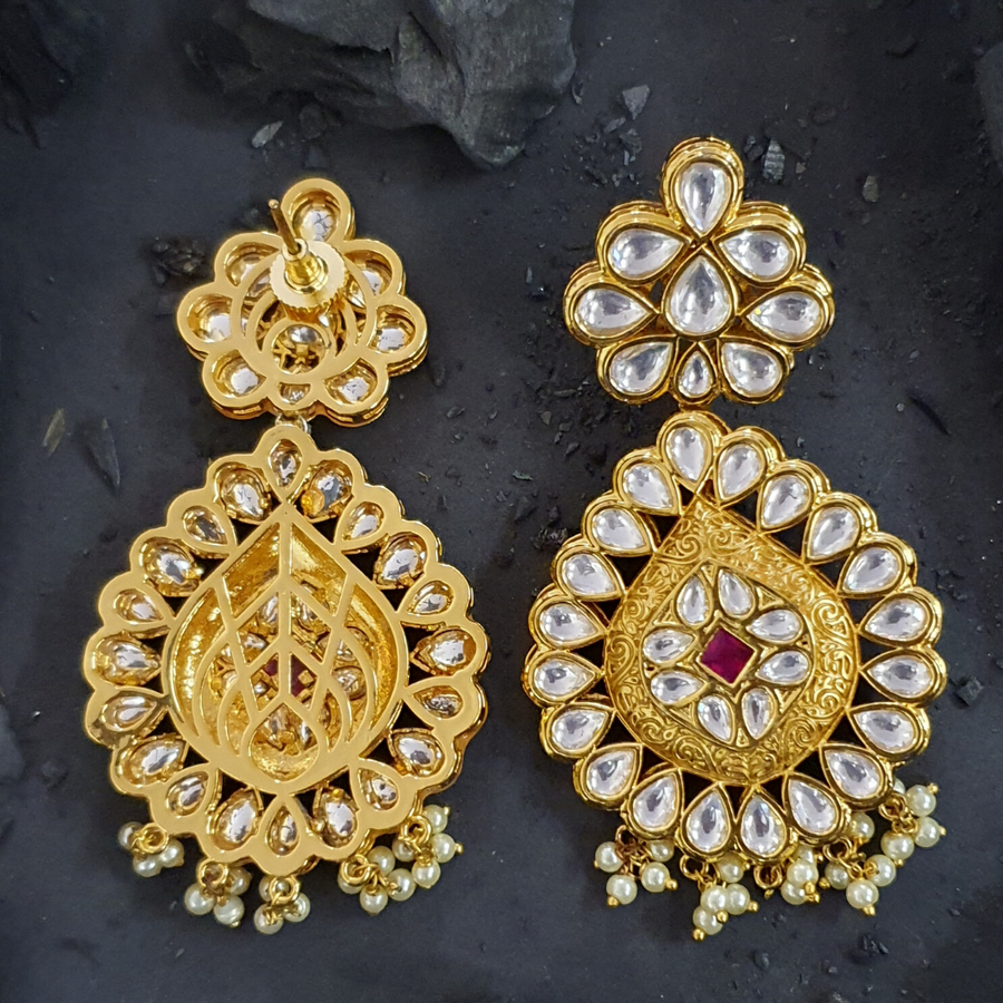 Exclusive Dangler Earrings with Gold Plating and Vilandi Stones (BAERS0485)