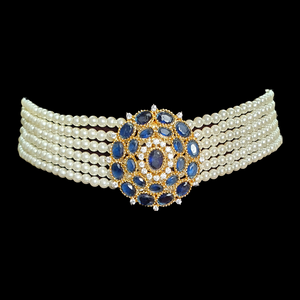 Gold Plated Necklace Set with Exquisite Blue Stone (BANS00230)