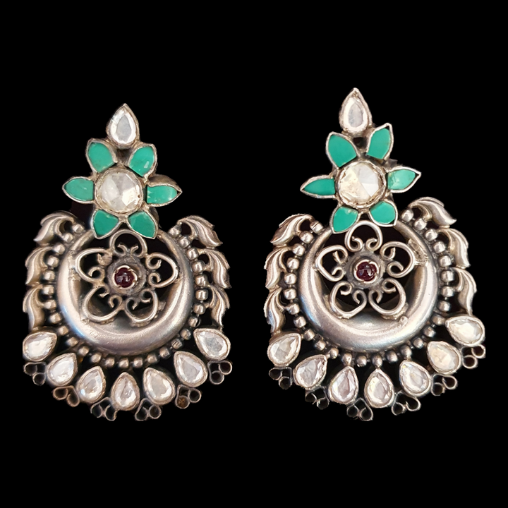 Silver Plated Dangler Earrings with Green Stones (BAER0512)