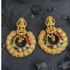 Gold Plated Temple Earrings Carved with Multi colour Stones (BAER0466)