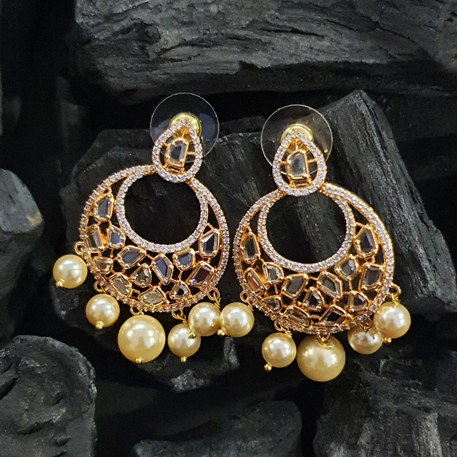 Gold Plated Polki Earrings with Cubic Zirconia Stones and Pearls (BAER0417)