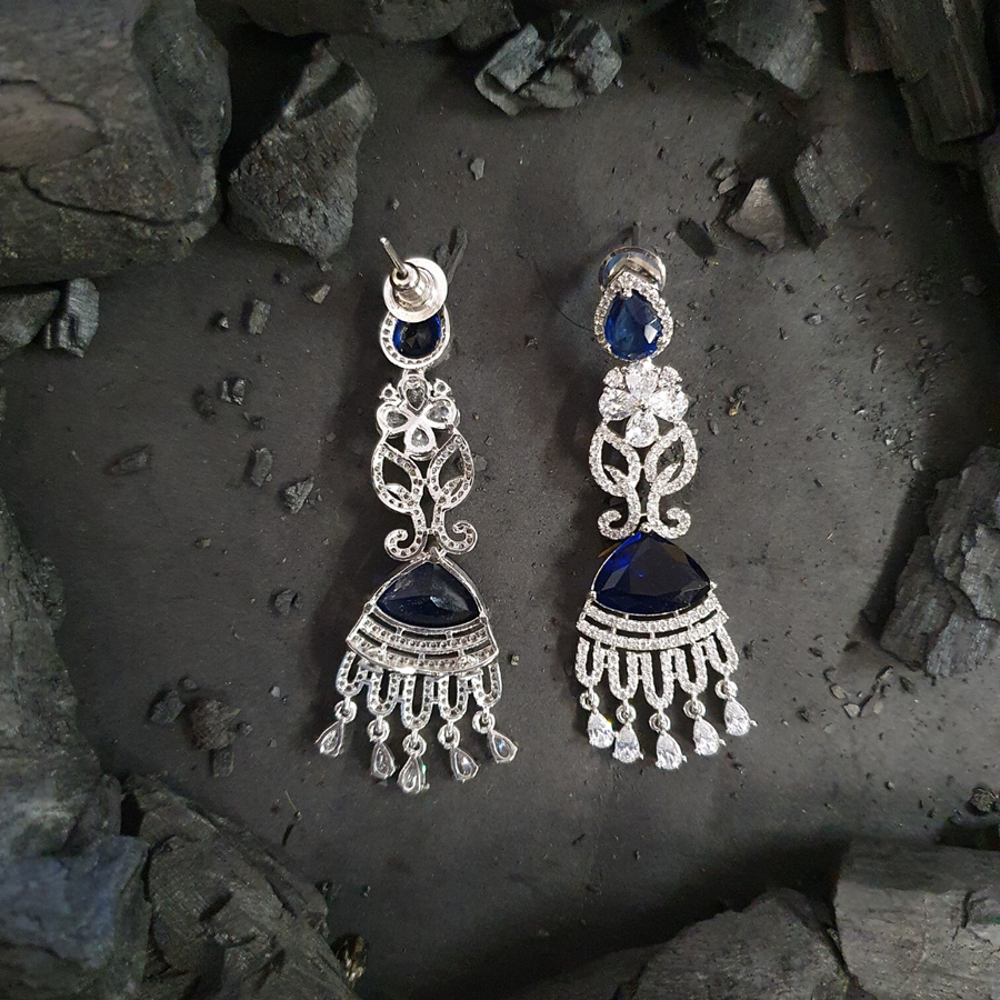 Blue Stone Embellished Rhodium Plated CZ Earrings (BAER0491)