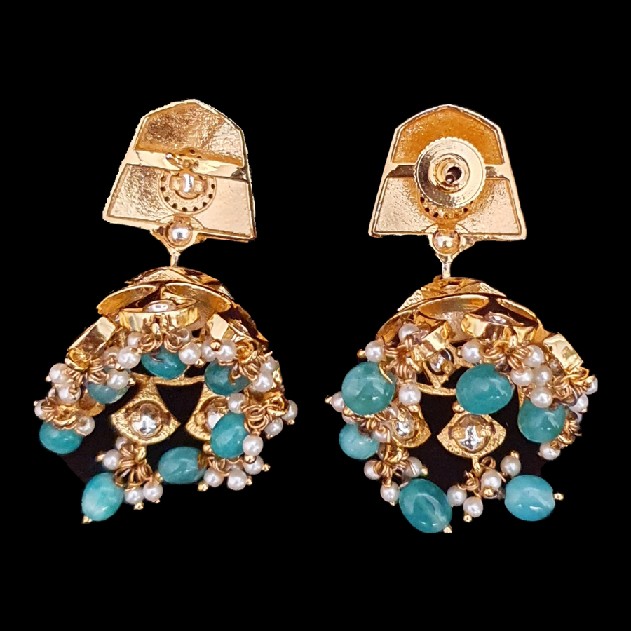 CZ Stone Decked Ethnic Earrings with Gold Plating (BAER0539)