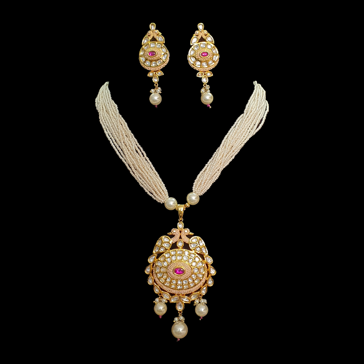 Gold Plated Necklace Set with Pearls and Vilandi Stones (BANSR00205)