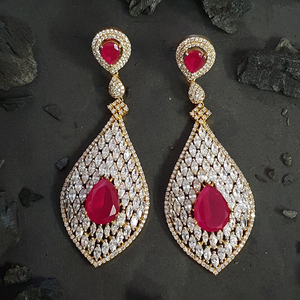 Ruby Stone Studded Fashion Earrings with Gold Plating (BAER0592)