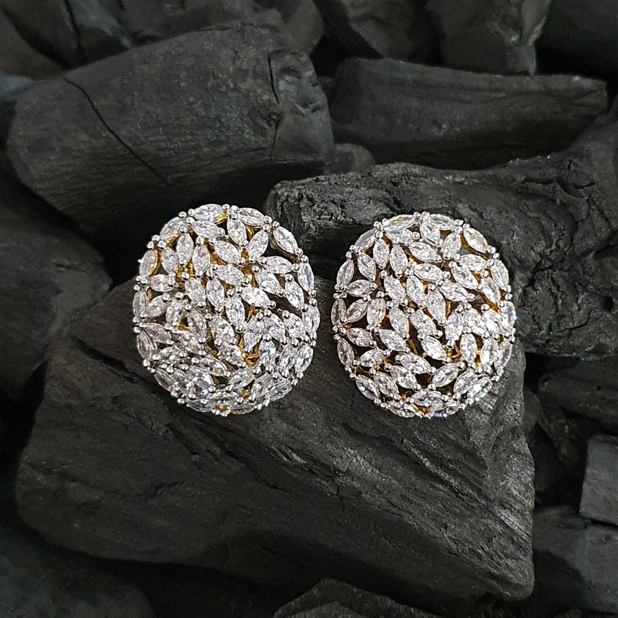 Gold Plated Stud Earrings Carvings with White Stones (BAER0385)