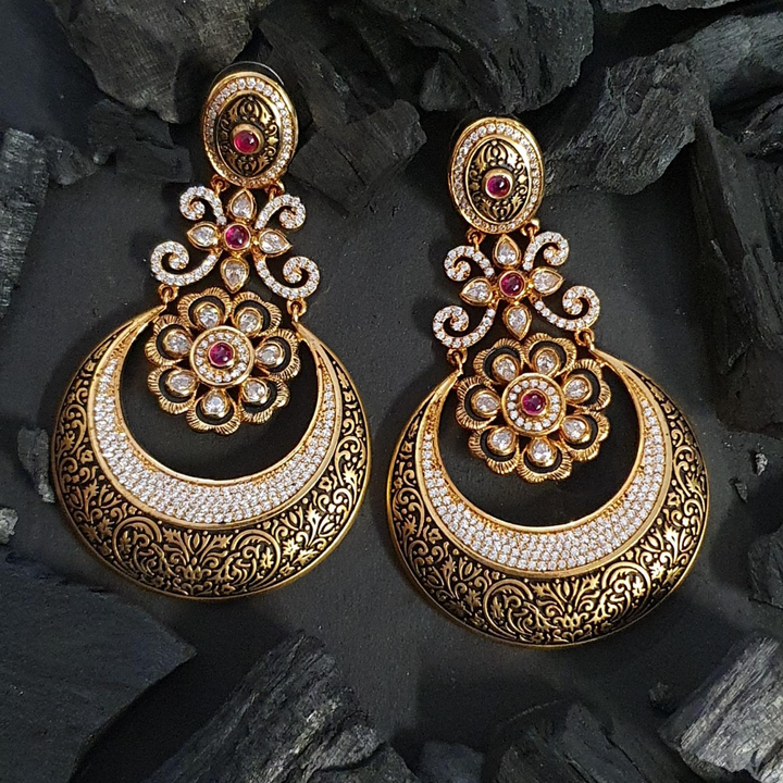 Ruby Stone and Black Carvings Adorned Earrings with Gold Plating (BAER0609)