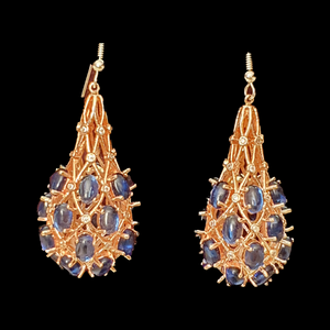 Gold Plated Fashion Earrings with Blue Stone (BAER0432)