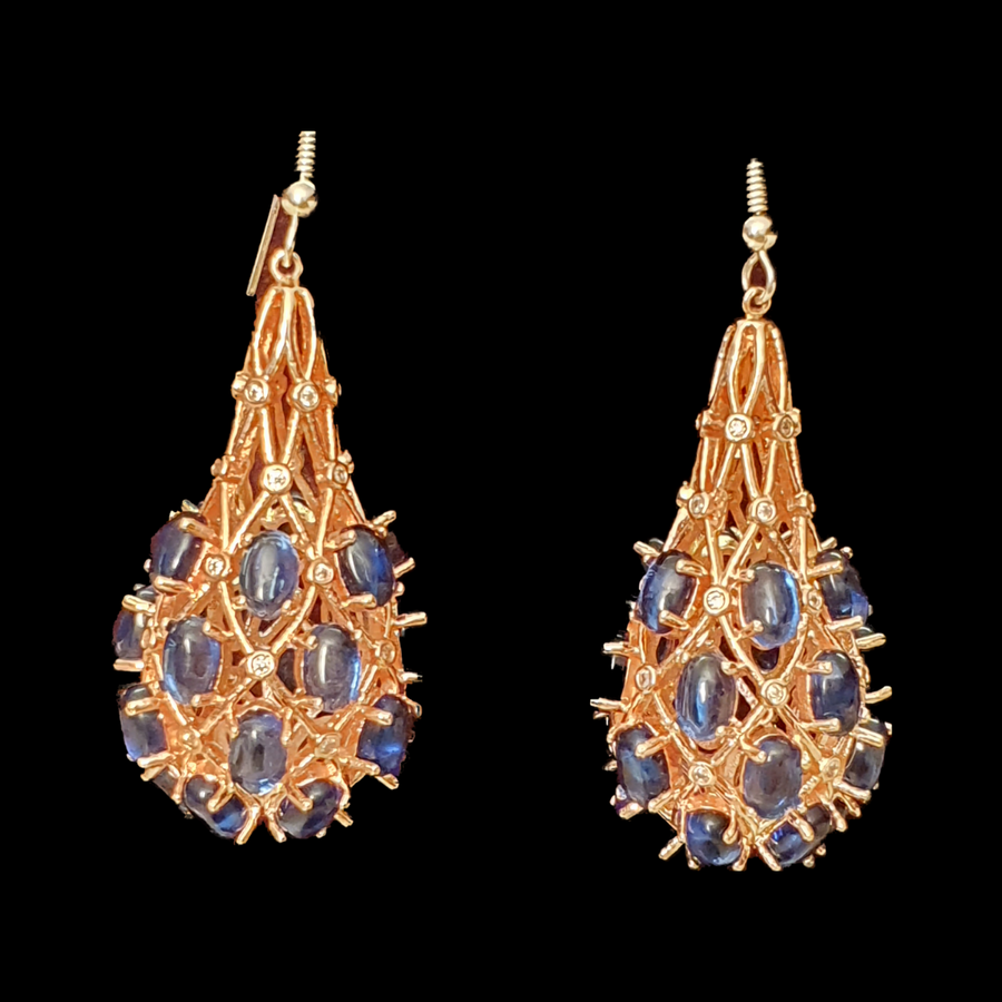 Gold Plated Fashion Earrings with Blue Stone (BAERR0432)