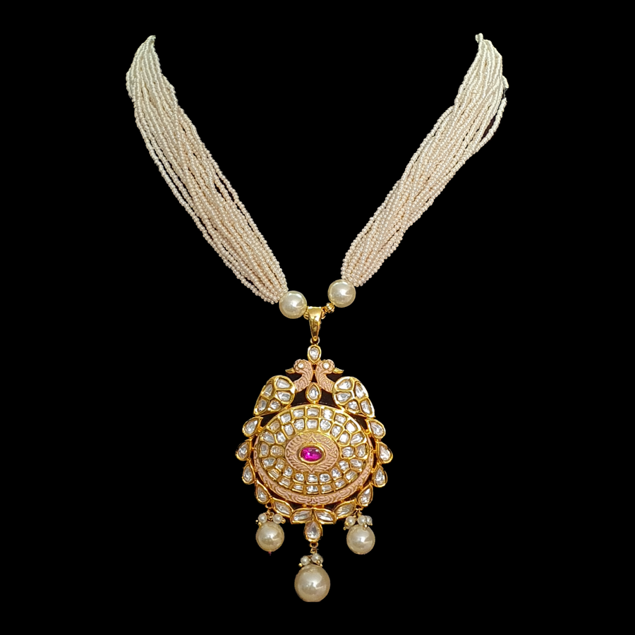 Gold Plated Necklace Set with Pearls and Vilandi Stones (BANS00205)