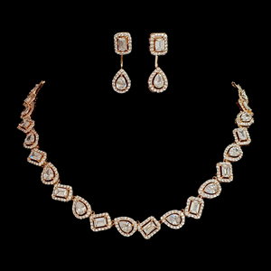 Rose Gold Plated Exclusive CZ Necklace with Earrings (BANS00152)