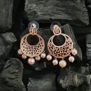 Two Tone Rose Rhodium Plated Polki Earrings Adorned with CZ Stones and Pearls (BAER0418)