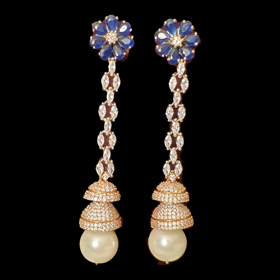 Rhodium Plated Earrings with Cubic Zirconia Stones and Pearls (BAER0444)