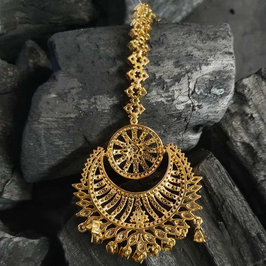 Gold Plated Maang Tikka with American Diamond Stones (BAMT011)