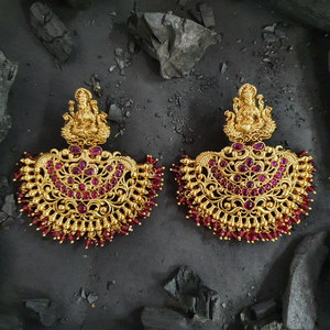 Gold Plated Temple Earrings with Ruby Stones and Red Balls (BAER0487)