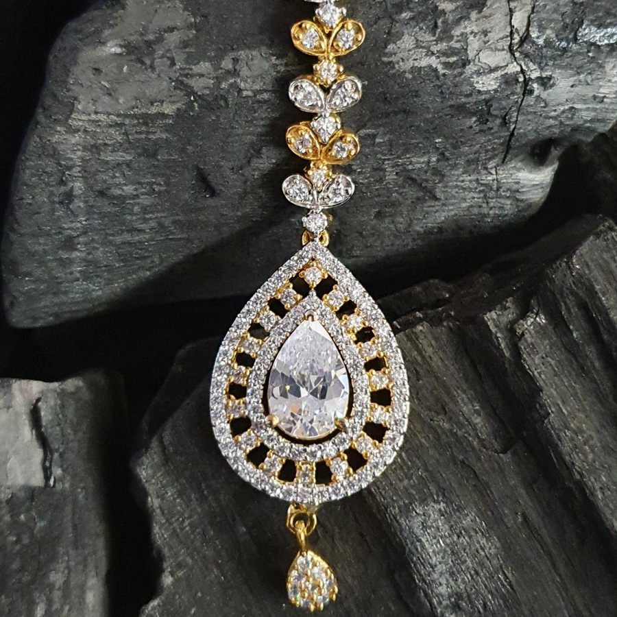 Gold Plated Maang Tikka with American Diamonds (BAMT01)