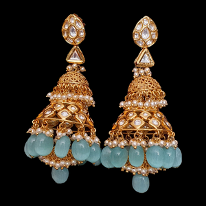 Gold Plated Fashion Earrings with Vilandi and Sky Blue Stones (BAER0538)