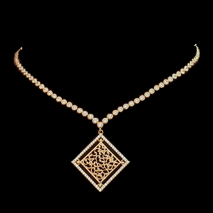 Gold Plated Necklace Set with Pearls and Gold Carvings (BANS00153)