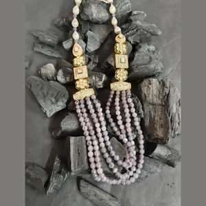 Modern Style Necklace Set Studded with Beautiful Vilandi Stones and Beads (BANS00276)