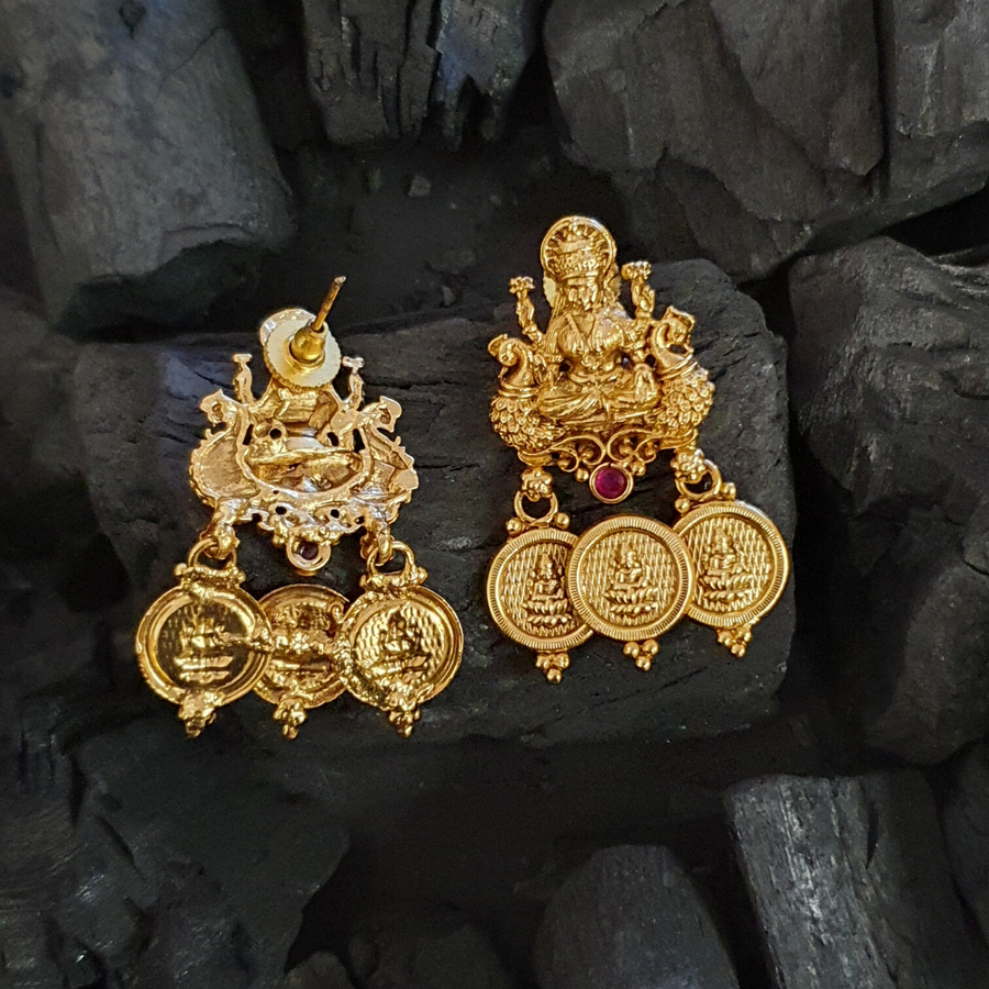 Gold Plated Temple Earrings with Ruby Stone (BAER0465)