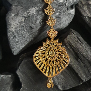 Gold Plated Maang Tikka Intricate with Cubic Zirconia Stones (BAMT017)