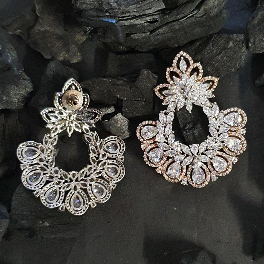 Rhodium Plated Fashion Earrings with American Diamond Stones (BAER0607)