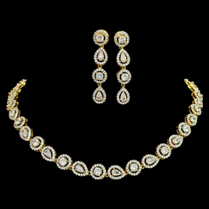 CZ and White Stone Embellished Gold Plated Necklace Set (BANS00200)