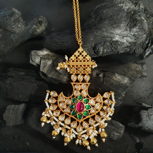 Gold Plated Traditional Style Maang Tikka Studded with Beautiful Multi colour Stones (BAMT034)