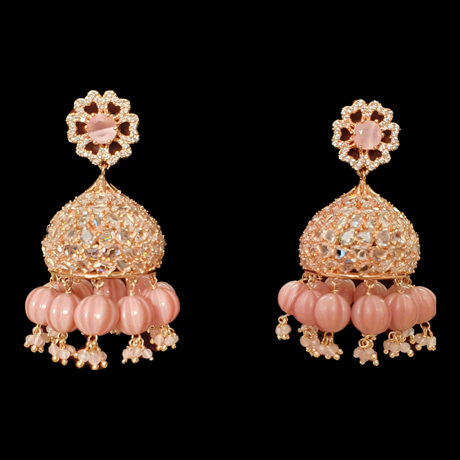 Two Tone Rose Rhodium Plated Earrings Adorned with CZ Stones and Pearls (BAERR0445)