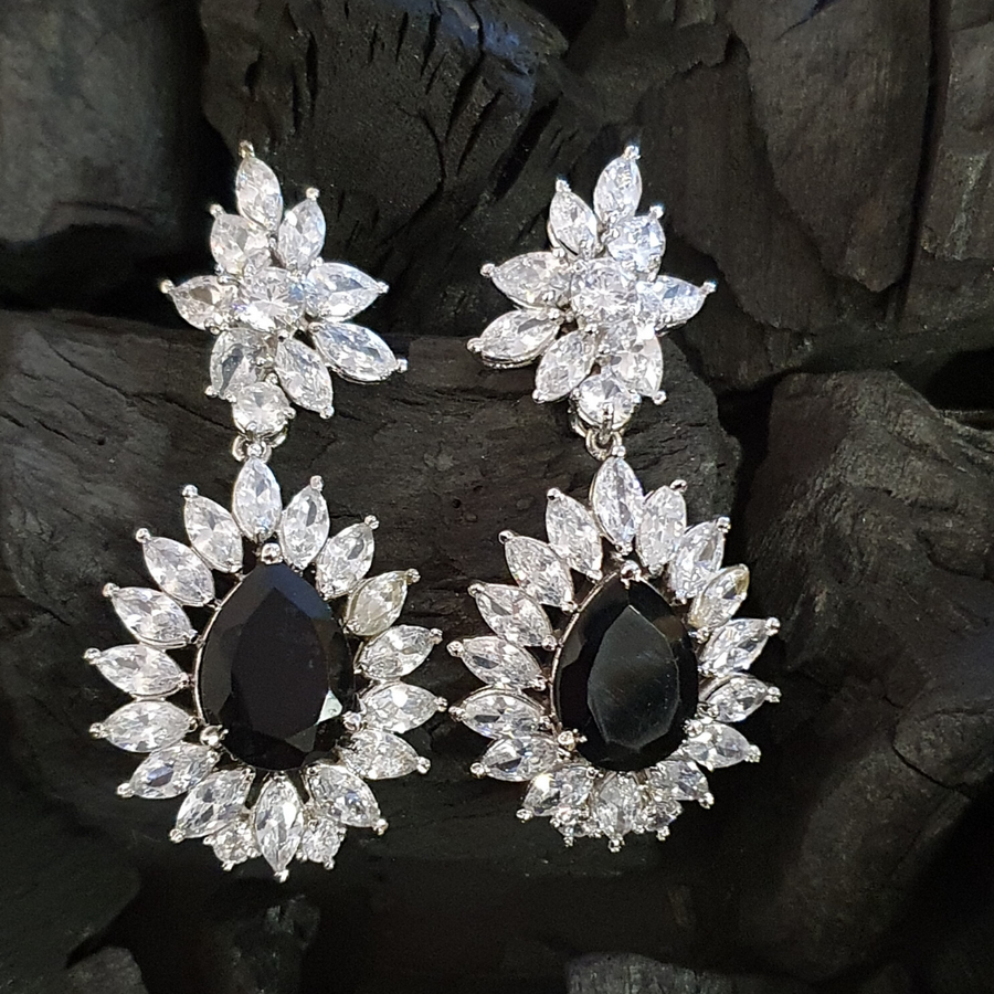 Rhodium Plated White Dangle and Drop Earrings having Black Stone (BAER0468)