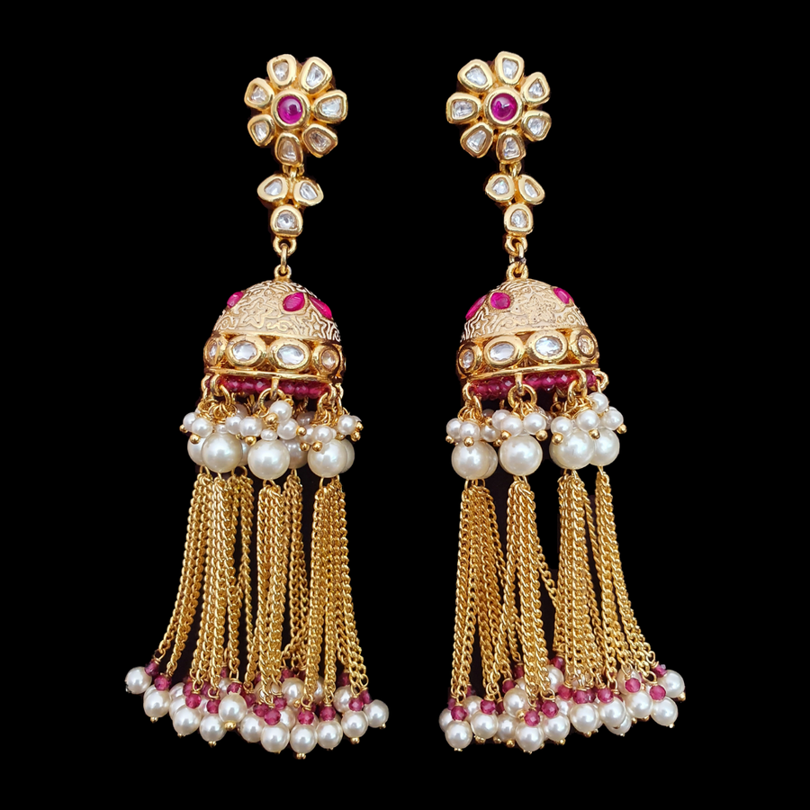 Gold Plated Earrings Adorned with Ruby and Vilandi Stone (BAER0533)