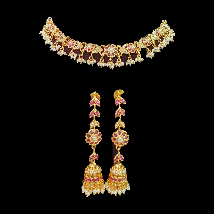 Pink Stone Studded Necklace Set having White Pearls (BANSM00169)