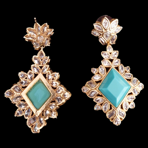 Two tone rhodium Plated Earrings with sky blue Stone (BAERR0515)