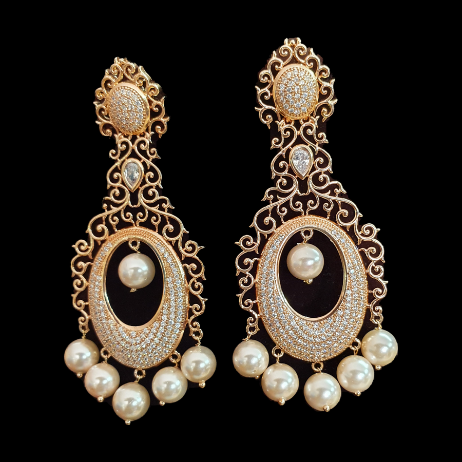 Pearls Adorned Dangler Earrings with Gold Plating (BAER0553)