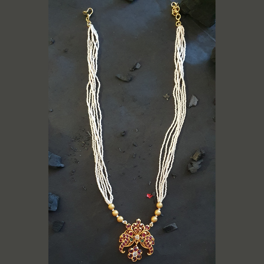 Gold Plated Pearls Necklace with Earrings (BANSR00252)