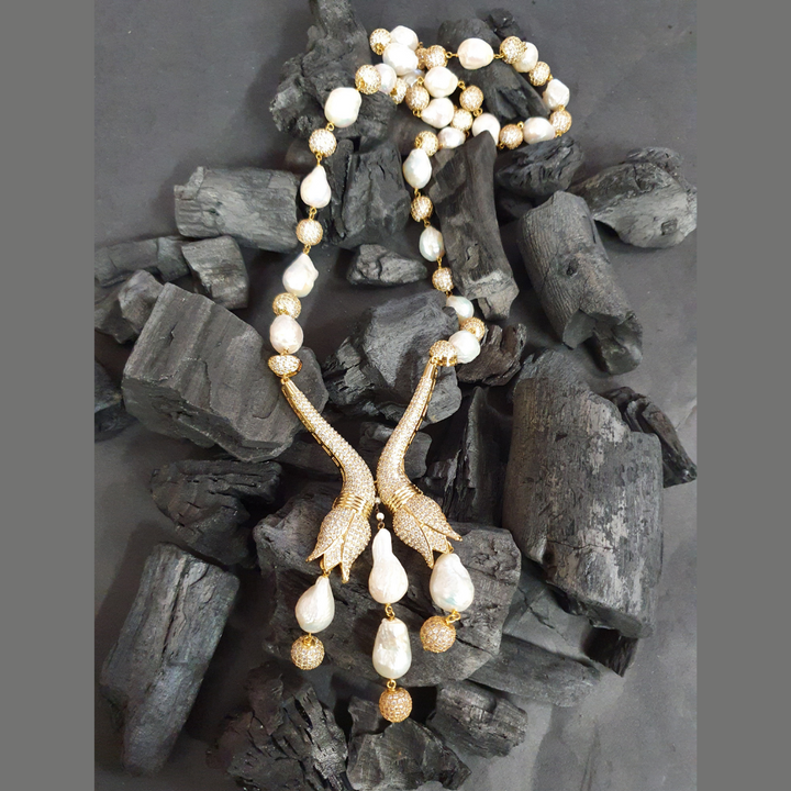Statement Style Mala with White Stones (BANS00300)