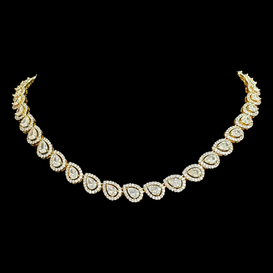 Gold Plated Necklace Set with CZ and White Stone (BANS00201)