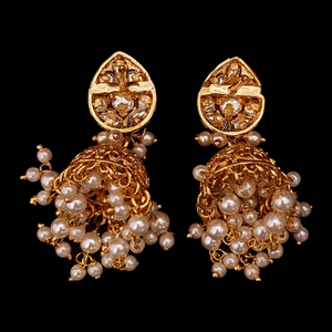 Vilandi Stone Adorned Jhumka Earrings with Gold Plating (BAER0545)