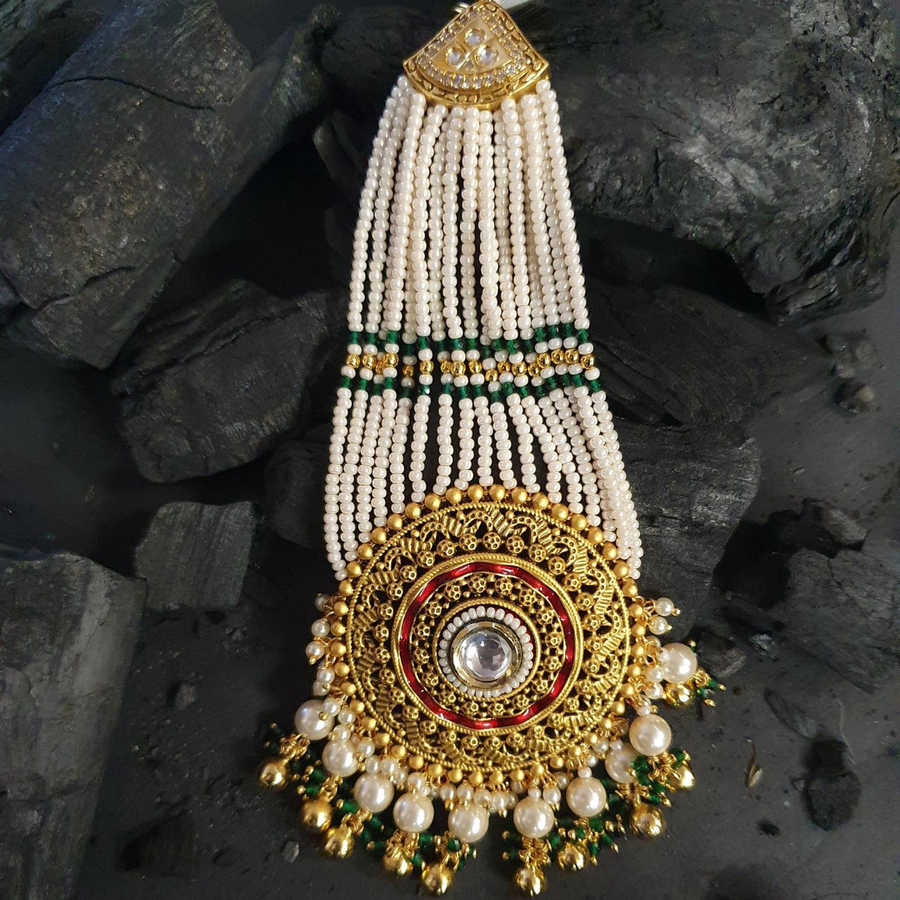 Gold Plated Ethnic Style Maang Tikka with Hanging Pearls (BAMT027)