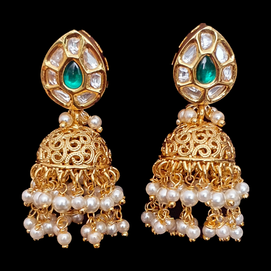 Vilandi and Green Stones Adorned Gold Plated Fashion Earrings (BAER0540)