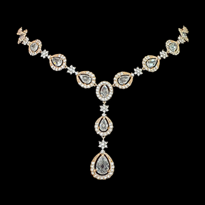 Rhodium Plated Necklace Set having Attractive CZ Stone (BANS00134)