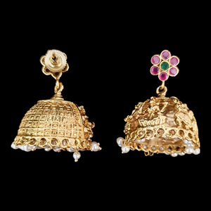 Ruby Stone Studded Temple Earrings with Gold Plating (BAER0528)