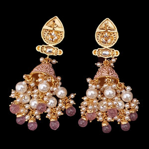 Gold Plated Fashion Earrings with Vilandi Stones and Pearls (BAER0546)