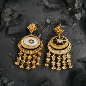 Gold Plated Dangle & Drop Earrings with Polki Stones (BAER0479)