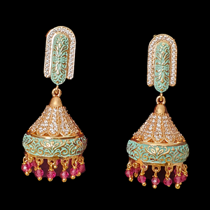 Pink & CZ Stone Studded Gold Plated Jhumka Earrings (BAER0430)