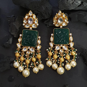 Emerald Stone Adorned Dangler Earrings with Gold Plating (BAER0612)