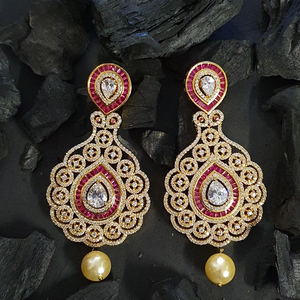 Gold Plated Dangler Earrings with American Diamonds (BAER0614)