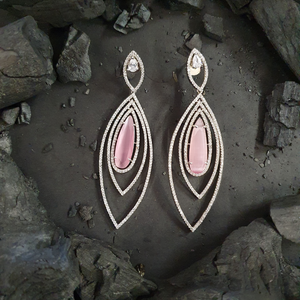 Rhodium Plated Earrings with Pink and CZ Stone (BAER0489)
